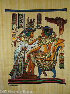 "King Tut Eating With His Wife Original Hand Painted Papyrus 12""X16""(30x40 Cm)"