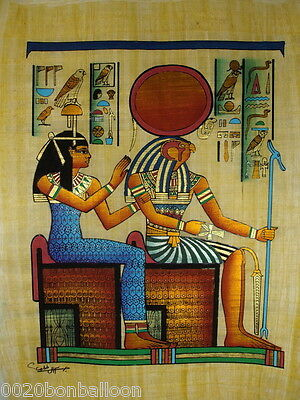 "Pharaoh King Horus & Queen  Original Hand Painted Papyrus 12""X16"" (30x40 Cm)"