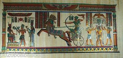 "Pharaoh King Mena Hunting Original Hand Painted Papyrus 48""X24"" (120x60 Cm)"