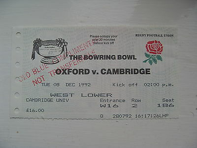 Oxford v Cambridge 1992 Used Rugby Ticket