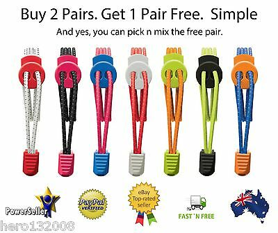 LACES with LOCK -  Elastic Shoe Laces - Triathlon - Running - Sports - Shoelaces