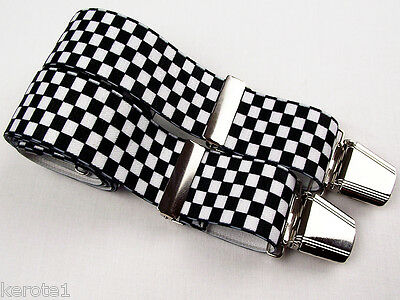 Mens Trouser Braces Black White Chequers Wide Elastic 35mm Heavy Duty Clasps