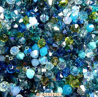 lot de 50 Perles Toupies 4mm Cristal Swarovski - MIX MULTICOLORE OCEAN