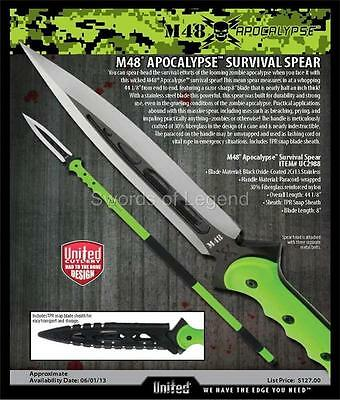 M48 ZOMBIE APOCALYPSE SURVIVAL SPEAR by UNITED CUTLERY UC2988  *NEW*