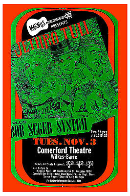Rock: Jethro Tull & Bob Seger System at Comerford Theatre Concert Poster 1970