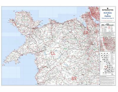 Postcode Sector Map 16 North Wales and Anglesey (Dark wood frame)