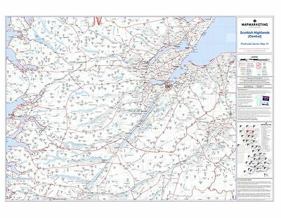 Postcode Sector Map 31 Scottish Highlands (Central) - Laminated Wall Map