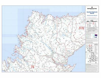 Postcode Sector Map 34 Scottish Highlands (North) (Dark wood frame)