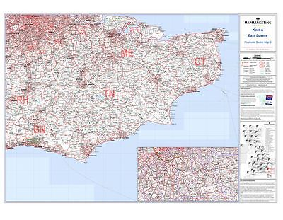 Postcode Sector Map 5 Kent and East Sussex (Light wood frame)