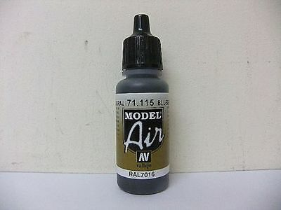 AIRBRUSH PAINT  - AV Vallejo Model Air  17ml Bottle Blue Grey RAL7016 VAL115