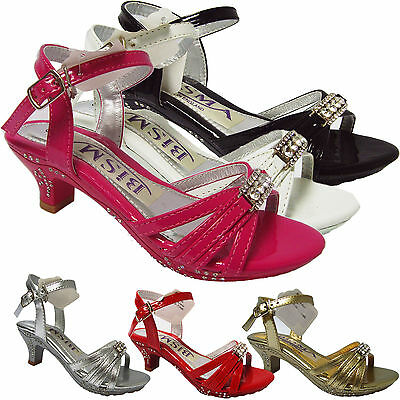 Girls Sandals Low Kitten Heel Fancy Party Bridesmaid Wedding Diamante Shoes