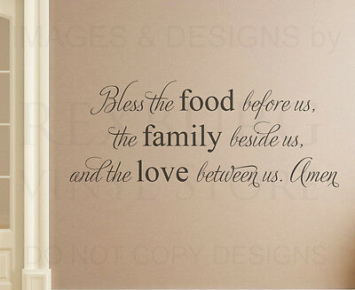 Bless the Food Family Religious Kitchen Wall Decal Vinyl Sticker Quote Art A13