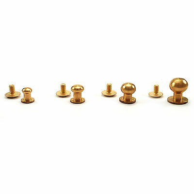 Solid brass sam brown browne button screw studs round rivet  5,5  6,5  8 10 mm
