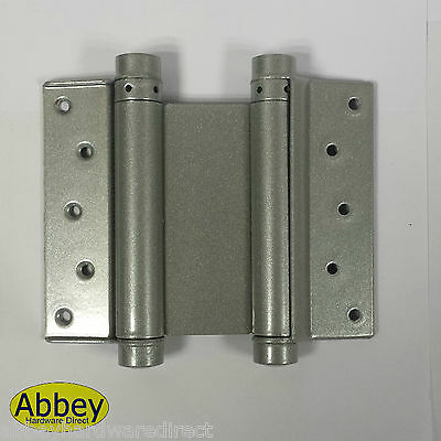 1 Pair Double Action Spring Swing Door Gate Saloon Kitchen Hinges Silver - 175mm