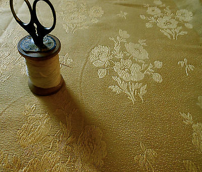 Antique Vintage English Damask Poppy Brocade Fabric~ Gold ~ Upholstery Pillows
