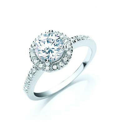 Rhodium Plated Solid 925 Silver Brilliant Cut Halo Engagement Or Dress  Ring