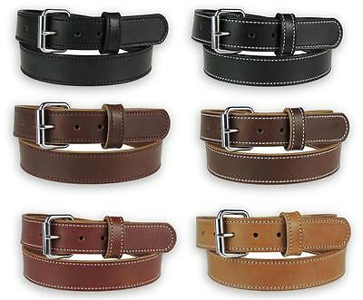 """Men's_1-1/2"""" HEAVY DUTY_LEATHER WORK HOLSTER BELT_Accent Stitched_AMISH HANDMADE"""