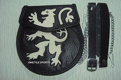 Scottish Men Irish Onstyle Black LEATHER Kilt One Size SPORRAN  Belt & Emblem