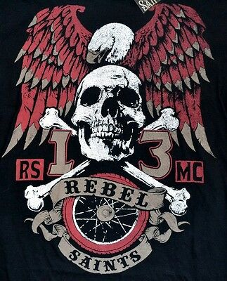 """Rebel Saints by AFFLICTION """"Eagle Ride"""" 2-Sided Graphic T-Shirt Adult Sizes"""