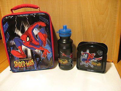 Spiderman Insulated Cooler Snack Lunch Bag Tote + Sandwich Box and Bottle