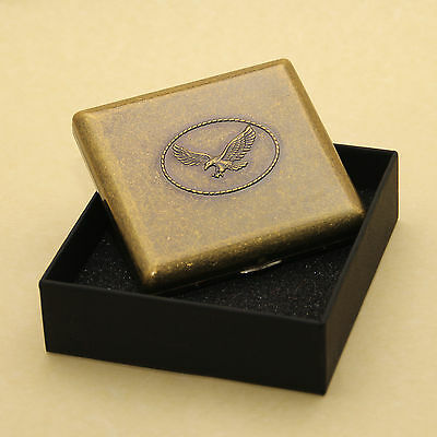 Hawk Style Brass Cigarette Case Box Hold For 20 Cigarettes With Gift Box