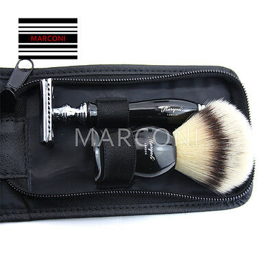 Men Traditional Safety Travel Double Edge Blade Hair Razor and Shaving Brush Set
