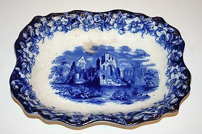 Antique Flow Blue Castle Scene Pottery Dish - Opaque China - Made in England