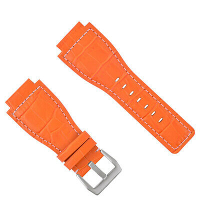 New 24Mm Leather Watch Band Strap For Bell & Ross Br-01-03 Watch Orange Ws
