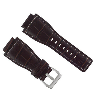 New 24Mm Leather Watch Band Strap For Bell & Ross Br-01-03 Watch Brown Ws