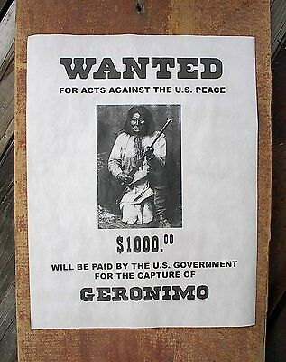"""(755) OLD WEST OUTLAW GERONIMO APACHE INDIAN $1000 REWARD REPRINT POSTER 11""""x14"""""""