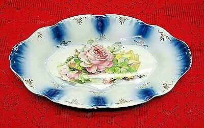Very Rare Vintage Imperial China Large Serving Dish Bowl W/ Roses & Blue Accents