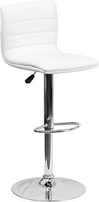 Flash Furniture Contemporary White Vinyl Adjustable Height Barstool with...