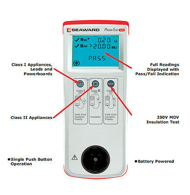 New Seaward PrimeTest 125 Portable Appliance Safety Test and Tag AS3760 Tester