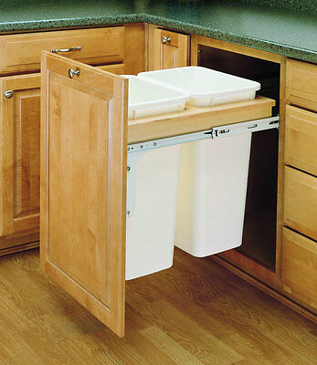 Double 50 Quart Top Mount Wood Pull Out Trash Containers RevAShelf 4WCTM-2150DM