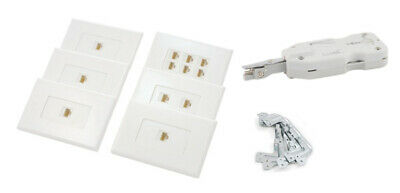 Cat6 RJ45 Ethernet Wall Plate Kit with Punch Down Tool 6/2/1/1/1/1 port