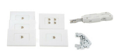 Cat6 RJ45 Ethernet Wall Plate Kit with Punch Down Tool 4 Port