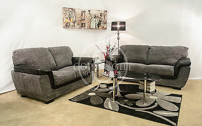 Candy Fabric Black & Grey and Brown & Beige 3+2 Sofa Seater Settee