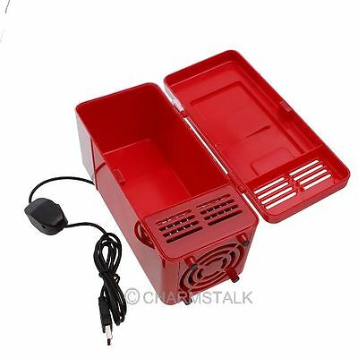 USB Cola Drink Fridge Beverage Cooler Can Warmer Refrigerator Freezer Car Red