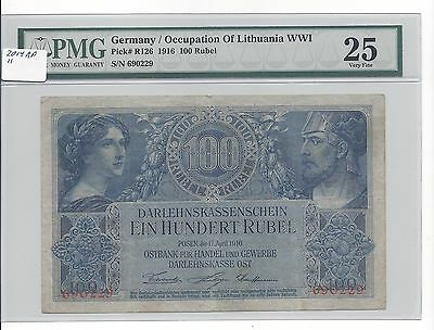 Germany Occupation Lithuania WW1 1916 100 Rubel Pick R126 PMG 25 VF Scarce Grade