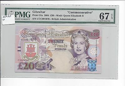 Gibralter 4-8-2004 20 Pounds Pick 31a PMG 67EPQ GEM UNC