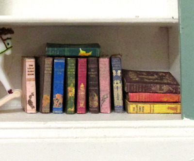 12 VINTAGE LANG FAIRY Books Miniature Dollhouse 1:12 Scale Fill Bookshelf Prop