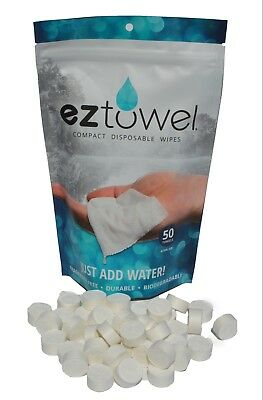 EZ Towels 50 compressed tablets with a refillable tube all in resealable bag