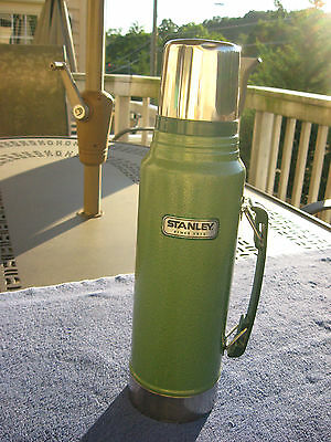 """Large Aluminum 14"""" Stanley Thermos 1.1 Quart Classic Green/ Complete"""