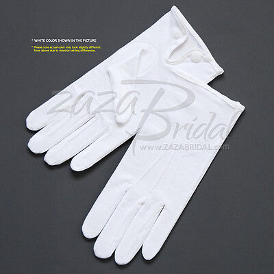 White 100% Cotton Boy's Gloves with Snap Closure - Various Sizes