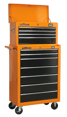 DJM Pro 6 Drawer Top Tool Storage Box Chest & 7 D Roller Cabinet Roll Cab Orange