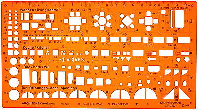 1:100 Metric Scale Architectural Furniture Architect Drawing Template Stencil