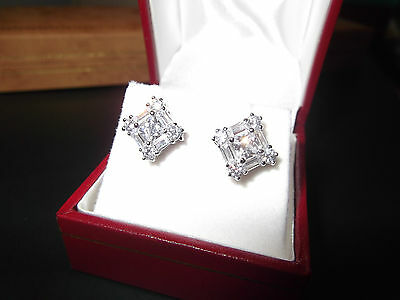Rhodium Plated 925 Hallmarked Sterling Silver Princess & Baguette Stud Earrings