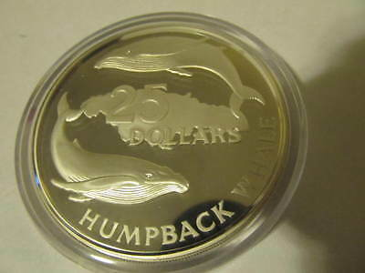 1985 5 oz Sterling $25.00 Jamaica Humpback Whales Round  4.04 oz .999 Silver