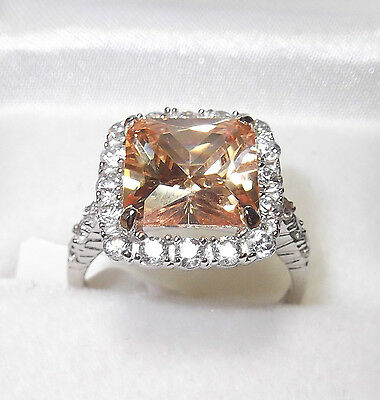 Rhodium Plated 925 Hallmarked Sterling Silver Cognac Princess Cut Halo Ring