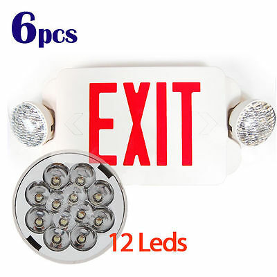 6Pcs LED Exit Sign & Emergency Light – RED Compact Combo Lighting UL924 EL2BR6